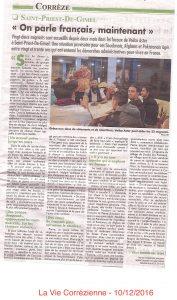 Article La Vie Corrézienne 10/12/2016